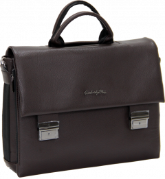 Cambridge Polo Club, Locked Synthetic Leather Briefcase, Coffee