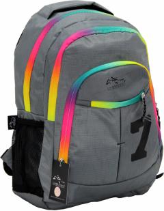 Cambridge Polo Club, Colorful Zipper School Backpack, Gray