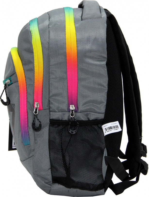 Cambridge Polo Club, Colorful Zipper School Backpack, Gray