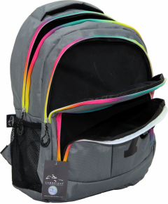 Cambridge Polo Club, Colorful Zipper School Backpack, Gray-3