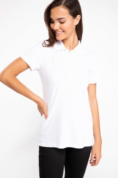 Polo Tshirt Women White-1