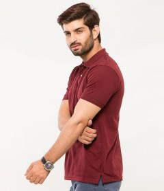 Polo Tshirt Men Claret Red-1