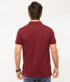 Polo Tshirt Men Claret Red-2