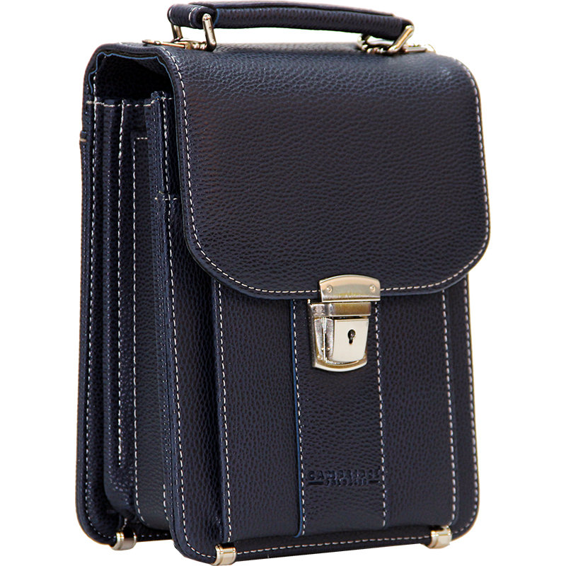 Cambridge Polo Club, Locked Portfolio Handbag Small Size, Navy Blue