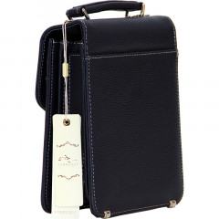 Cambridge Polo Club, Locked Portfolio Handbag Small Size, Navy Blue-1