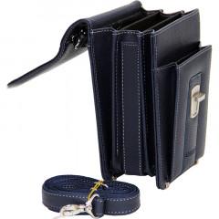 Cambridge Polo Club, Locked Portfolio Handbag Small Size, Navy Blue-2