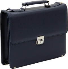 Cambridge Polo Club, 13-14 Inc Locked Synthetic Leather Briefcase, Navy Blue