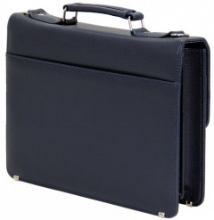 Cambridge Polo Club, 13-14 Inc Locked Synthetic Leather Briefcase, Navy Blue-1