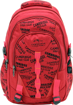 Cambridge Polo Club, Canvas Backpack, Red-0