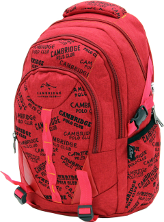 Cambridge Polo Club, Canvas Backpack, Red-1
