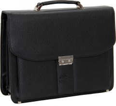 Cambridge Polo Club, Combination Lock Faux Leather Briefcase, Black-0