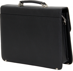 Cambridge Polo Club, Combination Lock Faux Leather Briefcase, Black-2