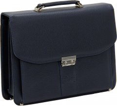 Cambridge Polo Club, Combination Lock Artificial Leather Briefcase, Navy Blue-0