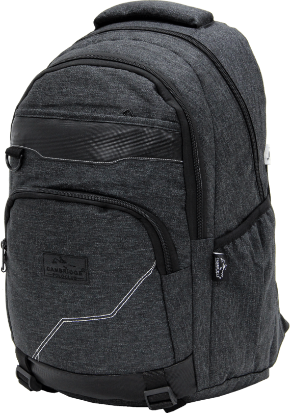 Cambridge Polo Club Plcan1685, Jeans Fabric Backpack, Black