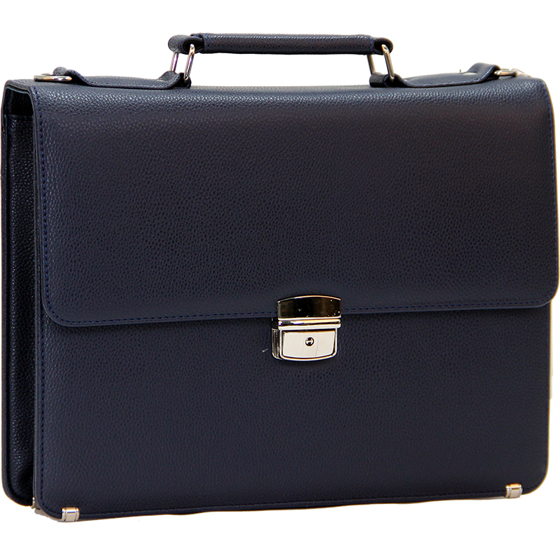 Cambridge Polo Club Plevr2062, Locked Synthetic Leather Briefcase, Navy Blue