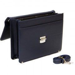 Cambridge Polo Club Plevr2062, Locked Synthetic Leather Briefcase, Navy Blue-1