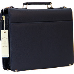 Cambridge Polo Club Plevr2062, Locked Synthetic Leather Briefcase, Navy Blue-2