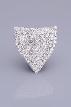 Kristal Taşlı Gümüş Kaplama Mıknatıslı Broş 05-0401-48-13