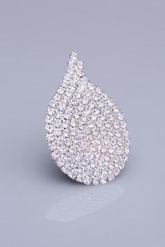 Kristal Taşlı Gümüş Kaplama Mıknatıslı Broş 05-0402-48-13
