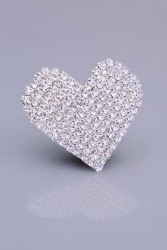 Kristal Taşlı Gümüş Kaplama Mıknatıslı Broş 05-0403-48-13