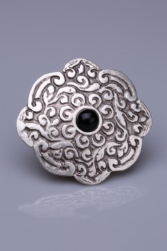 Siyah Doğal Taşlı Gümüş Kaplama Mıknatıslı Broş 05-0923-02-12