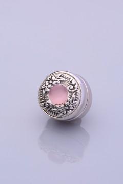 Pembe Taşlı Gümüş Kaplama Eşarp Mıknatısı ZAMAK SERİSİ 06-0909-07-10-T