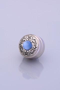 Mavi Tasli Gümüş Kaplama Eşarp Mıknatısı ZAMAK SERİSİ 06-0909-54-10-T