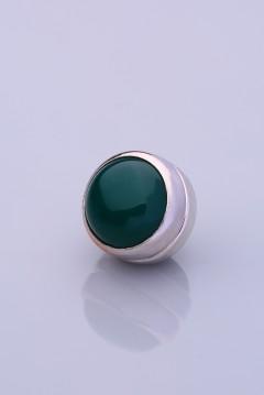 Yeşil Akik Gümüş Kaplama Eşarp Mıknatısı DOGALTAS-SERISI 06-0301-57-10-T