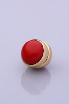 Mercan Kırmızısı Altın Kaplama Eşarp Mıknatısı DOGALTAS-SERISI 06-0301-63-20-T