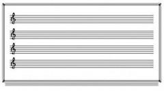 Akyazı Müzik Çizgili Yazı Tahtası, Beyaz, Emaye – 120×240