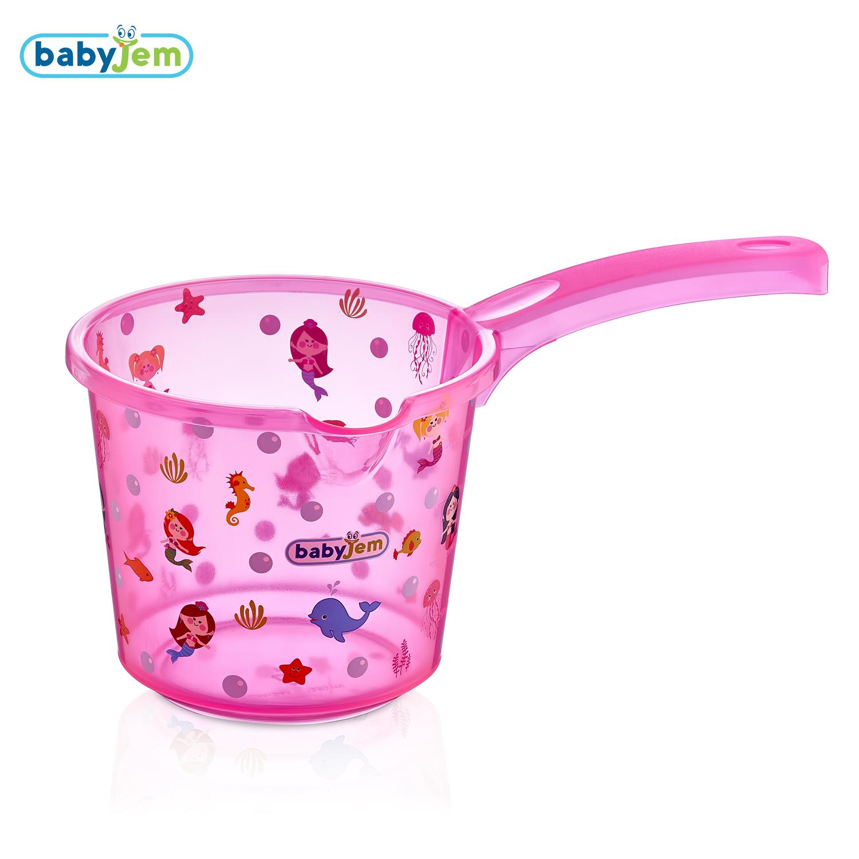 Babyjem Bebek Banyo Maşrapası Şeffaf Desenli Pembe