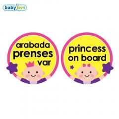 Babyjem Araba Cam Yazısı Arabada Prenses Var Pembe / 094Pembe