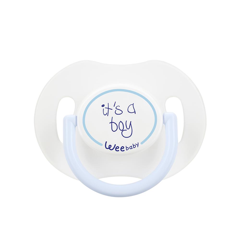 Wee Baby 781 Saplı Kapaklı Emzik Damaklı 0-6 Ay - Mavi