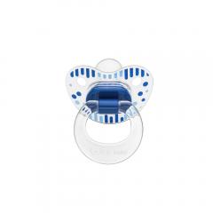 Wee Baby 837 Şeffaf Desenli Damaklı Emzik 6-18 Ay - Mavi