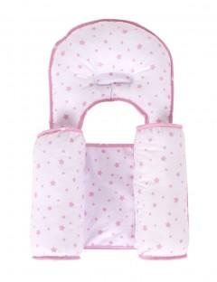 Sevi Bebe Kafa Şekillendirici Yastık & Yan Yatış Yastığı - Pembe Yıldız