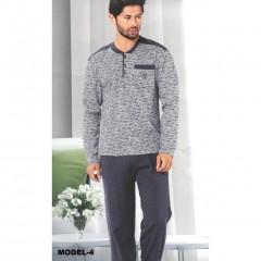 İki İplik Kışlık Şardonlu Erkek Pijama Takımı Gri