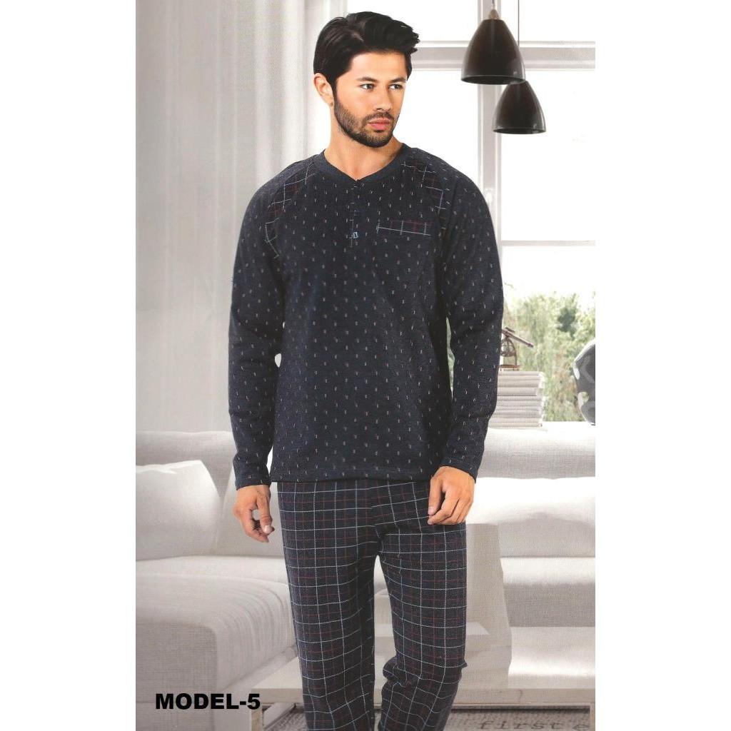 İki İplik Kışlık Şardonlu Erkek Pijama Takımı