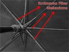 Fiber Siyah Baston Rüzgarda Kırılmayan Şemsiye-3