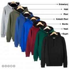 7 Renk Kışlık Kalın Kapşonlu Erkek Sweatshirt Hoodie-0