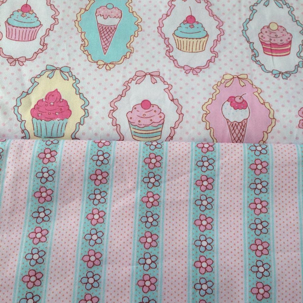 100*160 cm Cupcake Dondurma şerit Desenli Kumaş