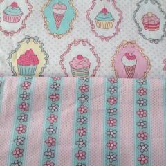100*160 cm Cupcake Dondurma şerit Desenli Kumaş-2