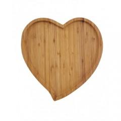 Bambu Servis Sunum Tabağı Kalp Şeklinde 24 cm 11446S