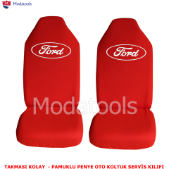 Ford Oto Koltuk Servis Kılıfı Ön İkili Kırmızı Penye Kumaş SK354