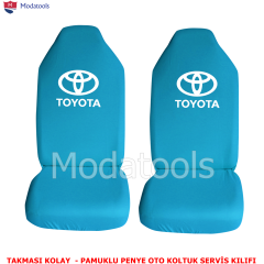 Toyota Oto Koltuk Servis Kılıfı Ön İkili Turkuaz Penye Kumaş SK541