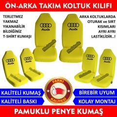 Audi Araba Araç Servis Koltuk Kılıfı Ön Arka Takım Sarı Penye Kumaş SK178