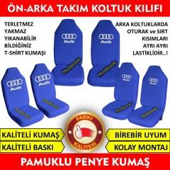 Audi Araba Araç Servis Koltuk Kılıfı Ön Arka Takım Mavi Penye Kumaş SK212