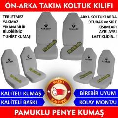 Renault Araba Araç Servis Koltuk Kılıfı Ön Arka Takım Gri Penye Kumaş SK296