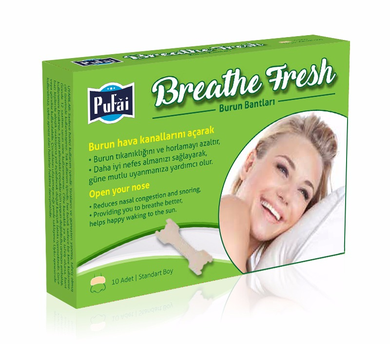 Pufai Breathe Fresh Burun Bandı. Standart Boy 55*16 Mm ( 10 Adet 1 Kutu)