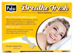 Pufai Breathe Fresh Burun Bandı. Large Boy 66*19 Mm ( 10 Adet 1 Kutu)