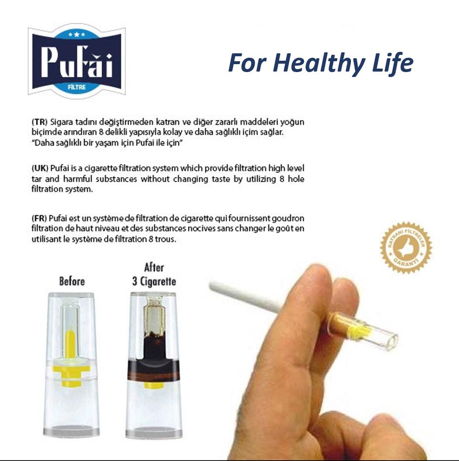 Pufai Sigara Filtresi Tar Süzen Katran Süzer Ağızlık 8mm 300 Adet